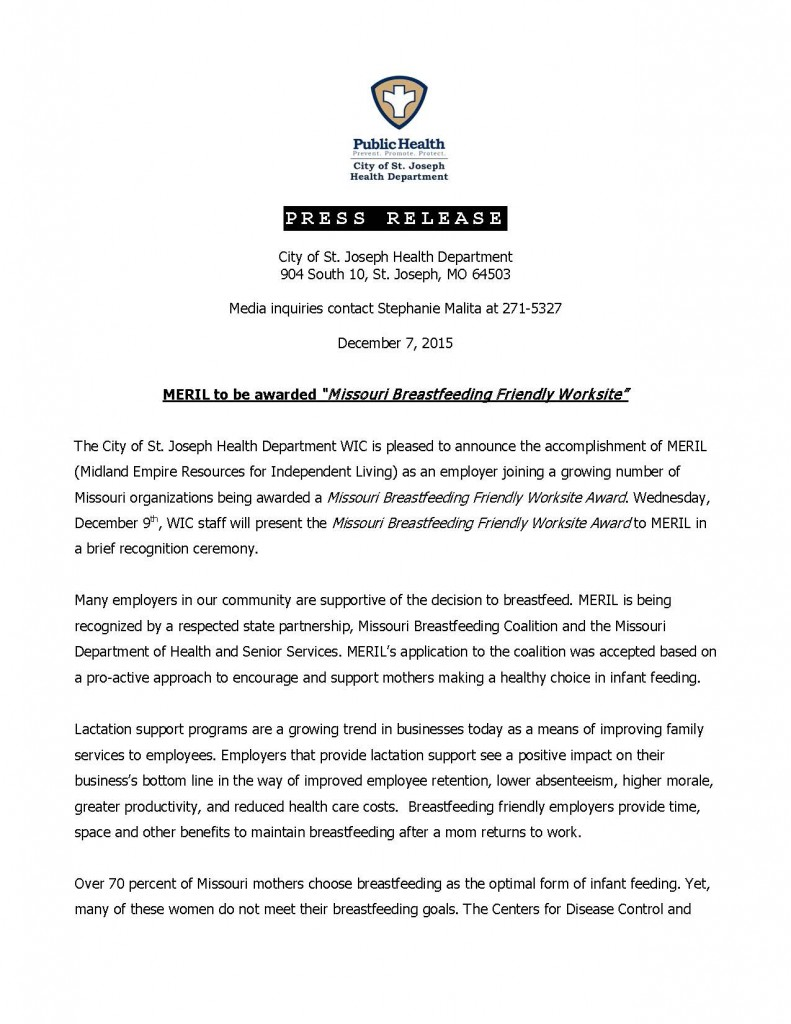 2015-12-07 MERIL Breastfeeding Friendly Worksite Award Press Release_Page_1