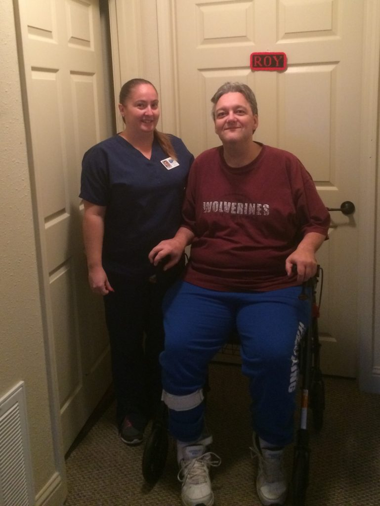 MERIL LPN Tiffany Diaz (left) with In-Home participant Roy (right). Roy receives nurse visits in his home so that he can remain independent and healthy.