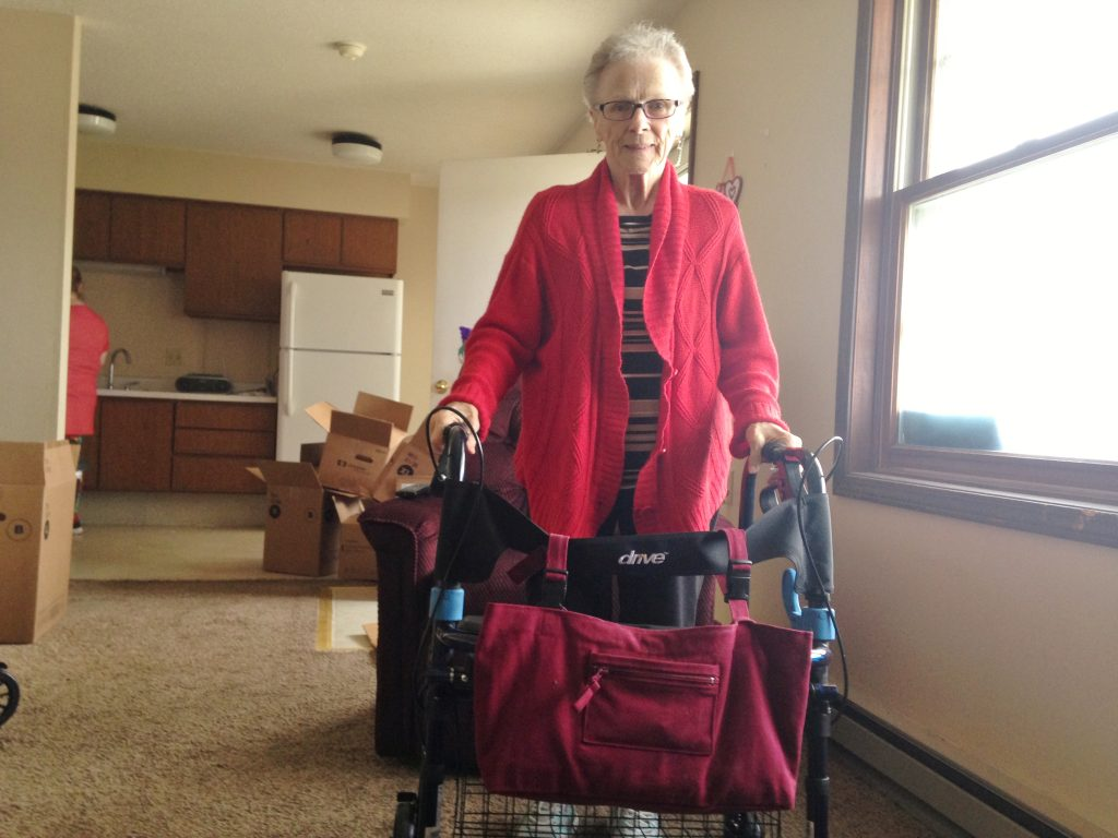 Roberta moved out of a nursing home and into a new apartment.