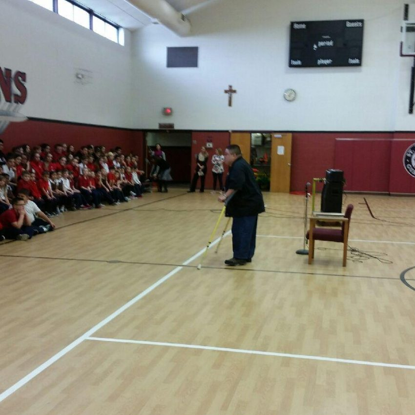 Jay, an Independent Living specialist at MERIL, spoke to a group of St. Andrew the Apostle Catholic School students about diversity and overcoming challenges. Thank you for inviting us, St. Andrew!