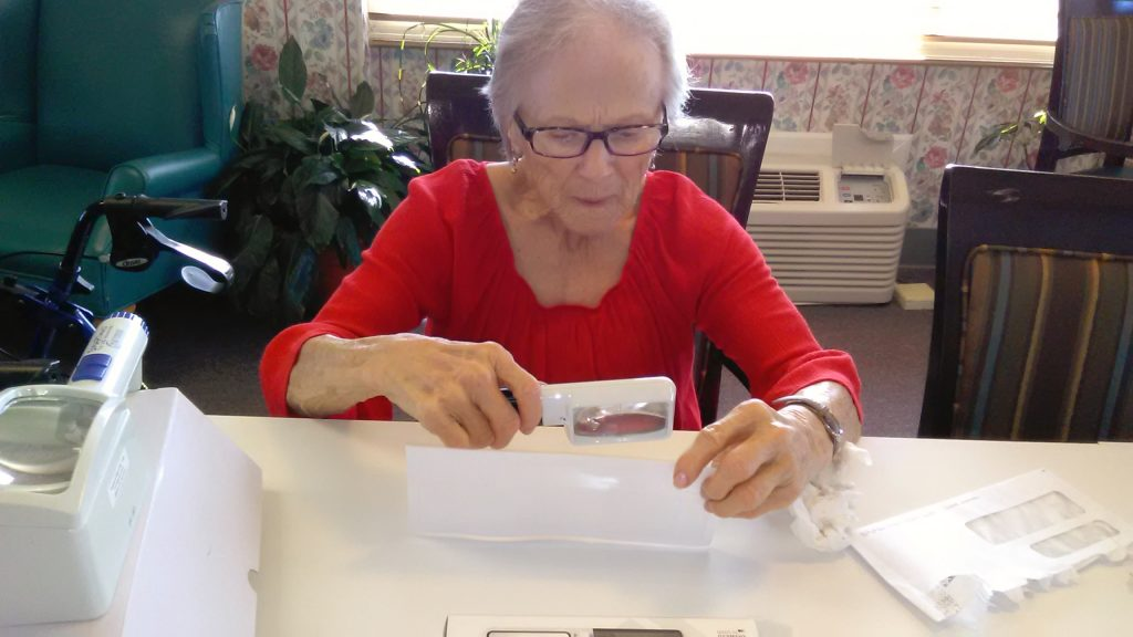 Roberta using assistive technology